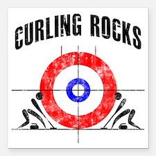 "Curling -white Square Car Magnet 3"" x 3"""