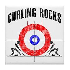 Curling -white Tile Coaster