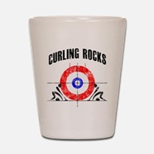 Curling -white Shot Glass