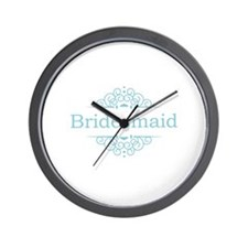 Bridesmaid in blue Wall Clock