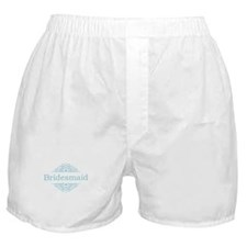 Bridesmaid in blue Boxer Shorts