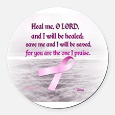 Pink Ribbon Healing 1 Round Car Magnet