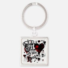 off-with-her-head_bl Square Keychain