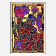 Cat and Flower Art Digital Edit Mini Poster Banner