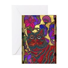 Cat and Flower Art Digital Edit Larg Greeting Card