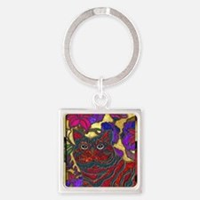Cat and Flower Art Digital Edit No Square Keychain