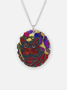 Cat and Flower Art Digital E Necklace