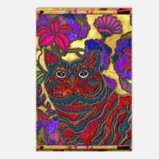 Cat and Flower Art Digita Postcards (Package of 8)