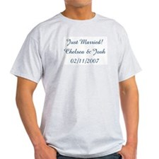 Just Married!  Chelsea & Josh Ash Grey T-Shirt