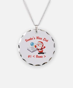 Personalized Santa's Nice List Necklace Circle Cha
