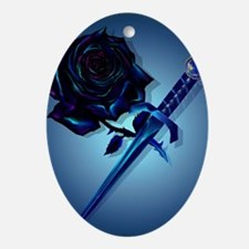 The Black Rose and Dagger Poster P Oval Ornament