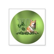 "Corgi_Lucky_Charm_Circle Square Sticker 3"" x 3"""