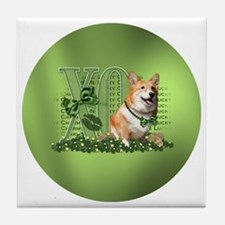 Corgi_Lucky_Charm_Circle Tile Coaster