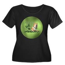 Corgi_Lu Women's Plus Size Dark Scoop Neck T-Shirt