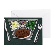 6-TV Dinner Tray Cooked Frozen Meal  Greeting Card