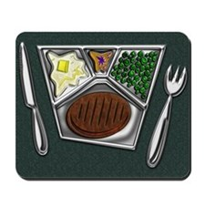 10-TV Dinner Tray Cooked Frozen Meal Kni Mousepad