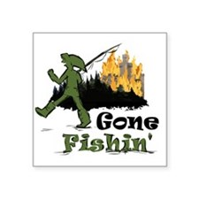 "Gone Fishin Square Sticker 3"" x 3"""