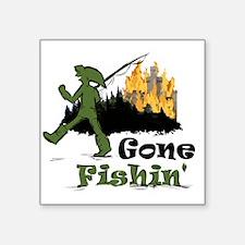 "Gone Fishin Square Sticker 3"" x 3"""
