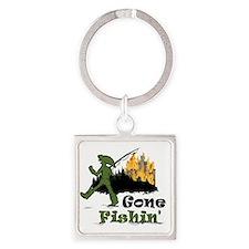 Gone Fishin Square Keychain