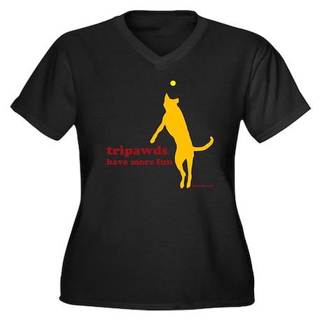 10x10 morefu Women's Plus Size Dark V-Neck T-Shirt