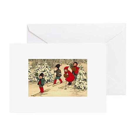 Vintage Christmas / Holiday Skiers Winter Greeting