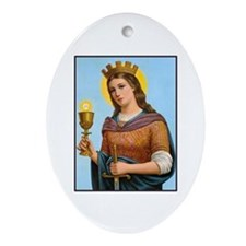 St. Barbara Oval Ornament