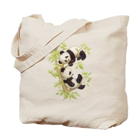 Pandas Playing In A Tree Tote Bag