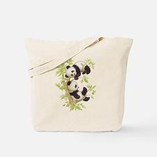 Pandas Playing In A Tree Tote Bag