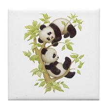Pandas Playing In A Tree Tile Coaster