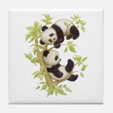 Pandas Playing In A Tree Tile Coaster