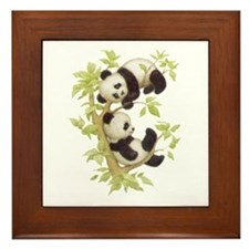 Pandas Playing In A Tree Framed Tile