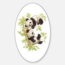 Pandas Playing In A Tree Oval Decal