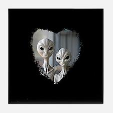 Alien Couple (Heart) - Tile Coaster