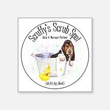 """Scruffys Scrub Spot Square Sticker 3"""" x 3"""""""