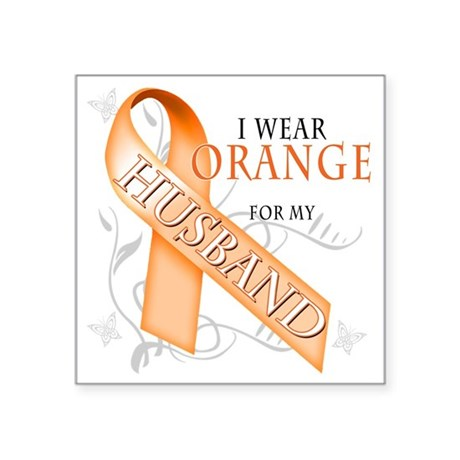 "I Wear Orange for my Husban Square Sticker 3"" x 3"""