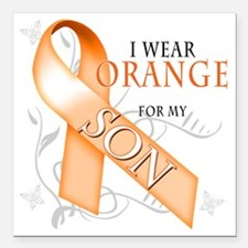 "I Wear Orange for my Son Square Car Magnet 3"" x 3"""