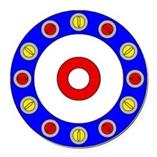Curling Clock 8x8 Round Car Magnet