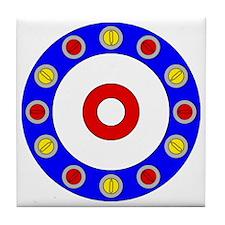 Curling Clock 8x8 Tile Coaster