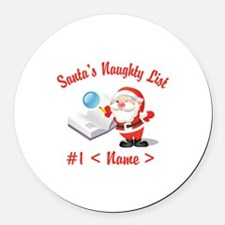 Personalized Santa's Naughty List Round Car Magnet