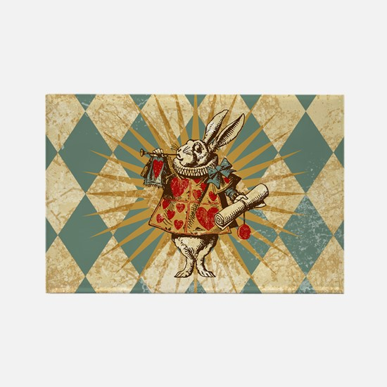 White Rabbit Vintage Rectangle Magnet