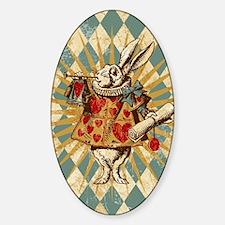white-rabbit-vintage_13-5x18 Sticker (Oval)