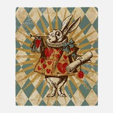 white-rabbit-vintage_12x18 Throw Blanket