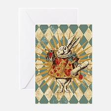 white-rabbit-vintage_12x18 Greeting Card