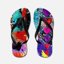 Queen of Hearts Marble Background Large Flip Flops