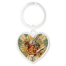 White Rabbit Vintage Heart Keychain
