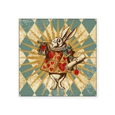 "White Rabbit Vintage Square Sticker 3"" x 3"""