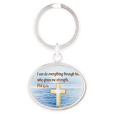 Faith Cross, Bible Verse Oval Keychain