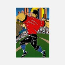 Baseball Pitcher Small Poster 16x Rectangle Magnet