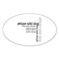 African Wild Dog Multi Oval Decal