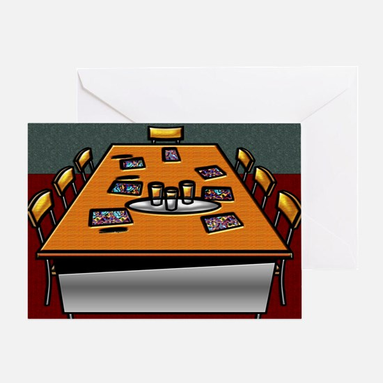 Boardroom Table Chairs Glasses Contr Greeting Card